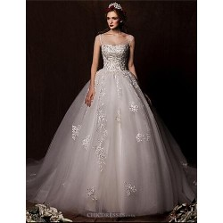 Ball Gown Sweep/Brush Train Wedding Dress -Scoop Tulle