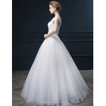 Ball Gown Wedding Dress - White Floor-length Off-the-shoulder Lace / Satin / Tulle Wedding Dresses