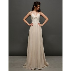 A-line Wedding Dress Court Train Spaghetti Straps Chiffon / Lace