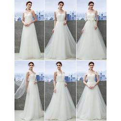 Mix&Match Convertible Dress Sweep/Brush Train Tulle Sheath/Column Wedding Dress (1539445)