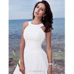 A-line Petite / Plus Sizes Wedding Dress - Ivory Sweep/Brush Train Jewel Chiffon Wedding Dresses