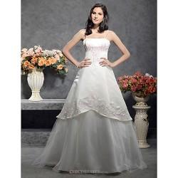 A Line Princess Plus Sizes Wedding Dress Ivory Floor Length Spaghetti Straps Satin Tulle