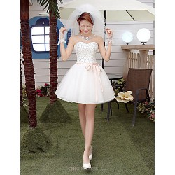 A Line Short Mini Wedding Dress Sweetheart Tulle