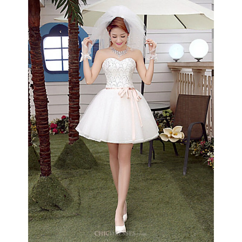 A-line Short/Mini Wedding Dress - Sweetheart Tulle,Cheap Uk Dresses ...
