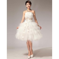 Ball Gown Plus Sizes Wedding Dress White White & Champagne (color May Vary By Monitor) Knee Length N A Halter Tulle