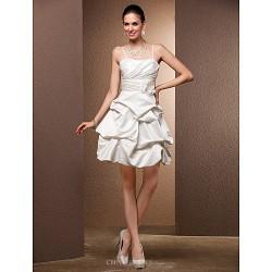 Ball Gown Sweetheart Satin Short Mini Wedding Dress