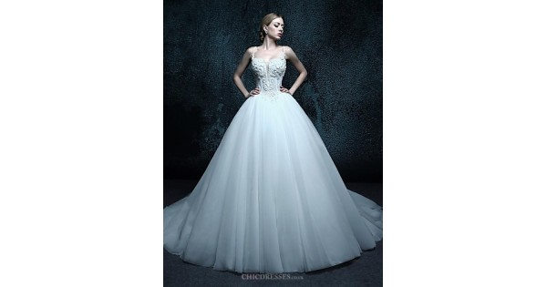 Cheap Fancy A Line Strapless Chapel Train Organza Simple: Ball Gown Chapel Train Wedding Dress