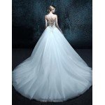 Ball Gown Chapel Train Wedding Dress - Spaghetti Straps Tulle Wedding Dresses