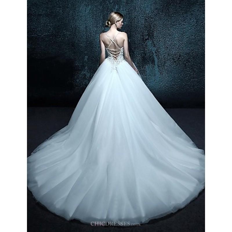 Ball gown chapel train wedding dress spaghetti straps for Spaghetti strap ball gown wedding dress