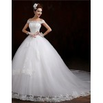 Ball Gown Chapel Train Wedding Dress -Off-the-shoulder Tulle Wedding Dresses
