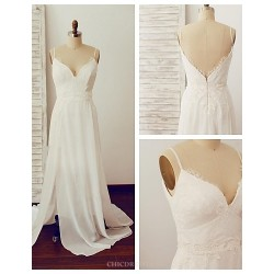 A Line Wedding Dress Ivory Sweep Brush Train V Neck Chiffon Lace