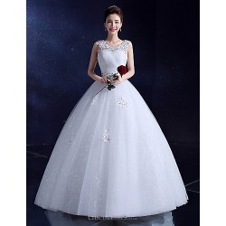 Ball Gown Wedding Dress White Floor Length Scoop Lace Satin Tulle