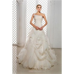 A-line Wedding Dress Court Train Strapless Organza/Satin