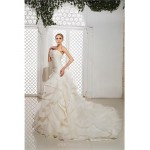 A-line Wedding Dress Court Train Strapless Organza/Satin Wedding Dresses