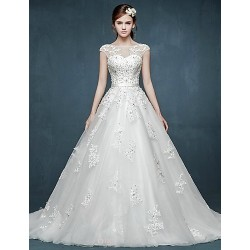 Ball Gown Wedding Dress White Court Train Bateau Tulle