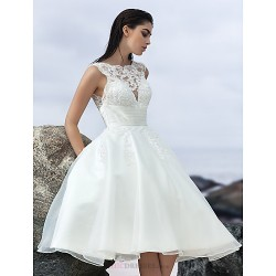 A Line Wedding Dress Ivory Knee Length Jewel Organza