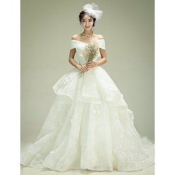 Ball Gown Wedding Dress Ivory Court Train Off The Shoulder Organza