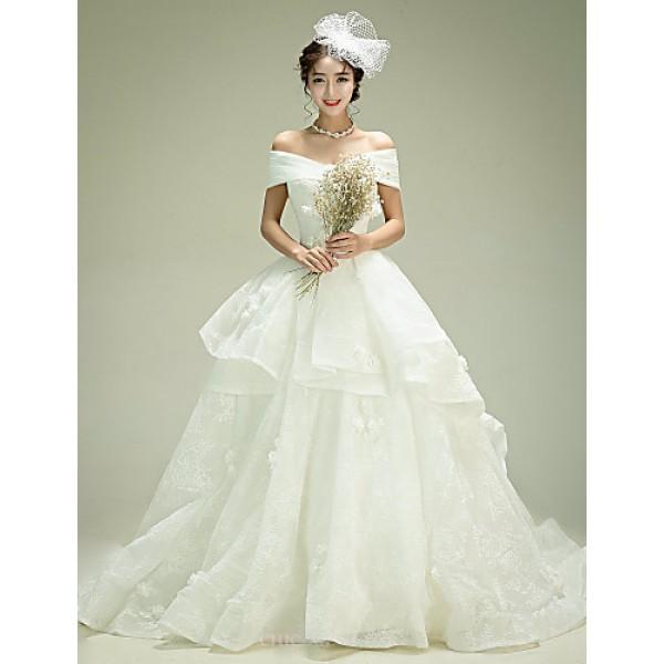 Ball Gown Wedding Dress - Ivory Court Train Off-the-shoulder Organza Wedding Dresses