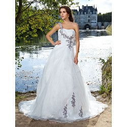 Ball Gown Plus Sizes Wedding Dress - Ivory Court Train One Shoulder Organza