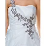 Ball Gown Plus Sizes Wedding Dress - Ivory Court Train One Shoulder Organza Wedding Dresses