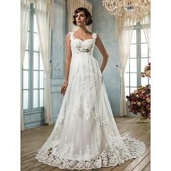 Sheath Column Plus Sizes Wedding Dress Ivory Court Train Square Tulle