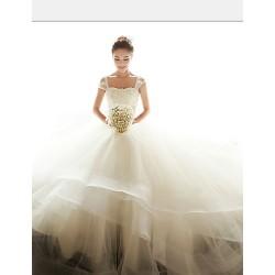 Ball Gown Floor Length Wedding Dress Off The Shoulder Organza