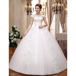 Ball Gown Wedding Dress - White Floor-length V-neck Lace / Satin / Tulle