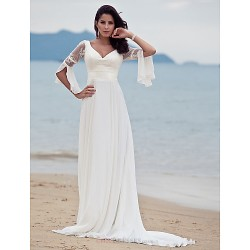 A Line Petite Plus Sizes Wedding Dress Ivory Court Train V Neck Chiffon
