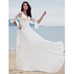 A-line Petite / Plus Sizes Wedding Dress - Ivory Court Train V-neck Chiffon Wedding Dresses