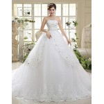 A-line Chapel Train Wedding Dress -Strapless Lace Wedding Dresses