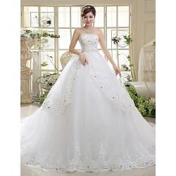 A-line Chapel Train Wedding Dress -Strapless Lace