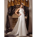 A-line Wedding Dress - Ivory Court Train Queen Anne Satin/Lace Wedding Dresses