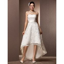 A-line/Princess Plus Sizes Wedding Dress - Ivory Asymmetrical Sweetheart Lace