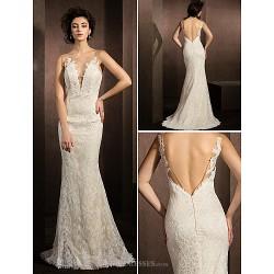 Trumpet Mermaid Wedding Dress Ivory Sweep Brush Train Jewel Lace