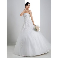 Ball Gown Wedding Dress White Floor Length Strapless Lace Organza Charmeuse