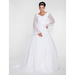 Ball Gown V-neck Chapel Train Chiffon Plus Size Wedding Dress