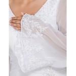 Ball Gown V-neck Chapel Train Chiffon Plus Size Wedding Dress Wedding Dresses