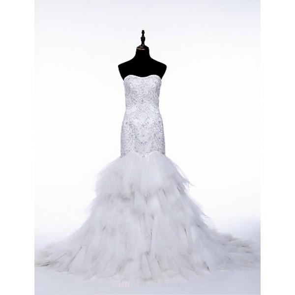Trumpet/Mermaid Wedding Dress - White Chapel Train Strapless Tulle Wedding Dresses