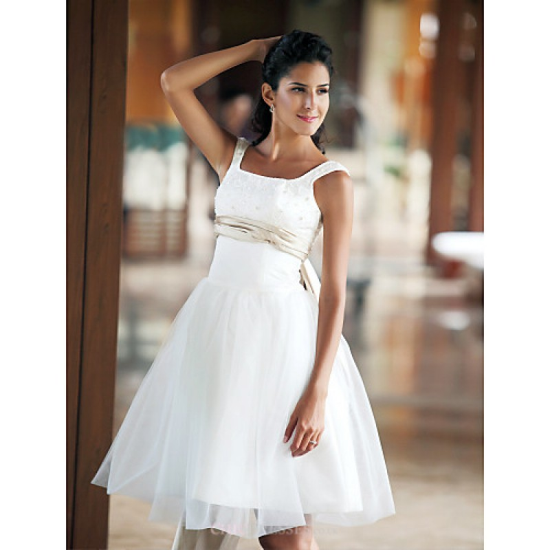 Ball gown plus sizes wedding dress ivory knee length for Plus size silk wedding dresses