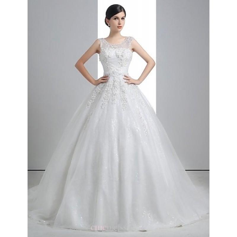 f9708c4cd1 A-line Wedding Dress - White Floor-length Scoop Linen Wedding Dresses