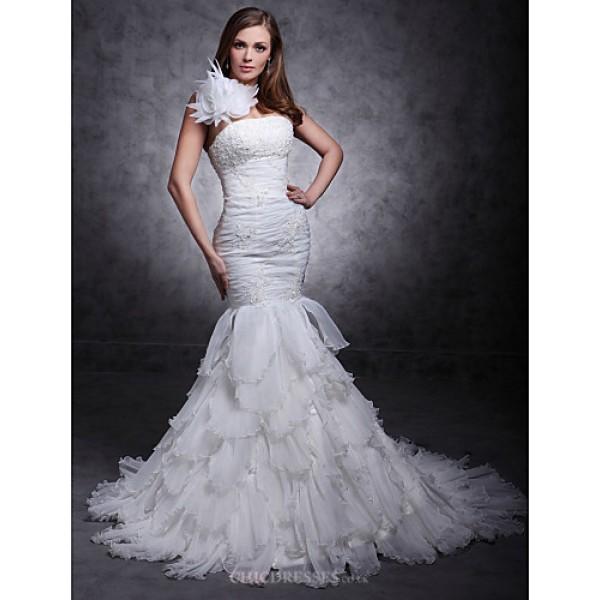Fit & Flare Plus Sizes Wedding Dress - Ivory Court Train One Shoulder Satin/Organza Wedding Dresses