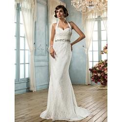 Trumpet Mermaid Plus Sizes Wedding Dress Ivory Sweep Brush Train Halter Lace