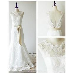 Trumpet Mermaid Wedding Dress Ivory Sweep Brush Train Jewel Lace Satin
