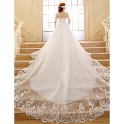 Ball Gown Wedding Dress White Chapel Train V Neck Lace Tulle