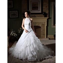 Ball Gown Plus Sizes Wedding Dress Ivory Chapel Train High Neck Organza