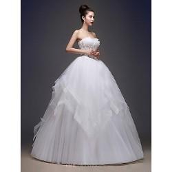 Ball Gown Wedding Dress Floor Length Bateau