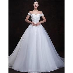 A Line Floor Length Wedding Dress Off The Shoulder Tulle