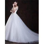 A-line Floor-length Wedding Dress -Off-the-shoulder Tulle Wedding Dresses