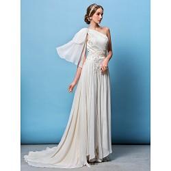 A Line Princess Wedding Dress Ivory Court Train One Shoulder Chiffon