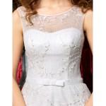 A-line / Princess Apple / Inverted Triangle / Rectangle / Misses / Hourglass / Pear / Petite Wedding Dress - Ivory Sweep/Brush Train Jewel Wedding Dresses